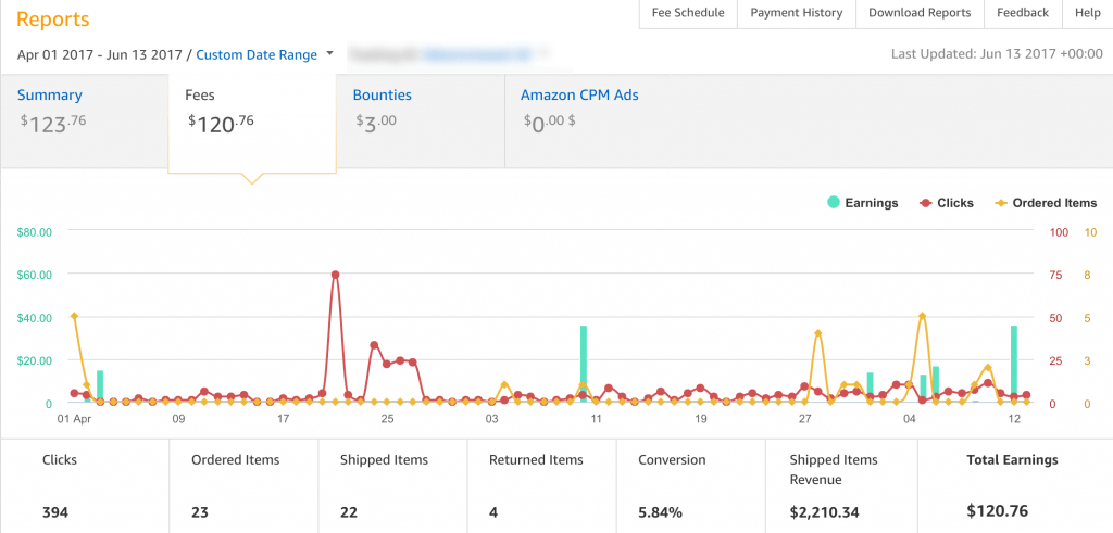 amazon affiliate earnings