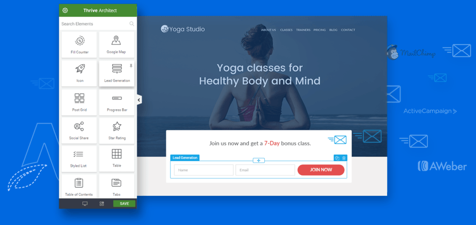 use thrive landing page builder