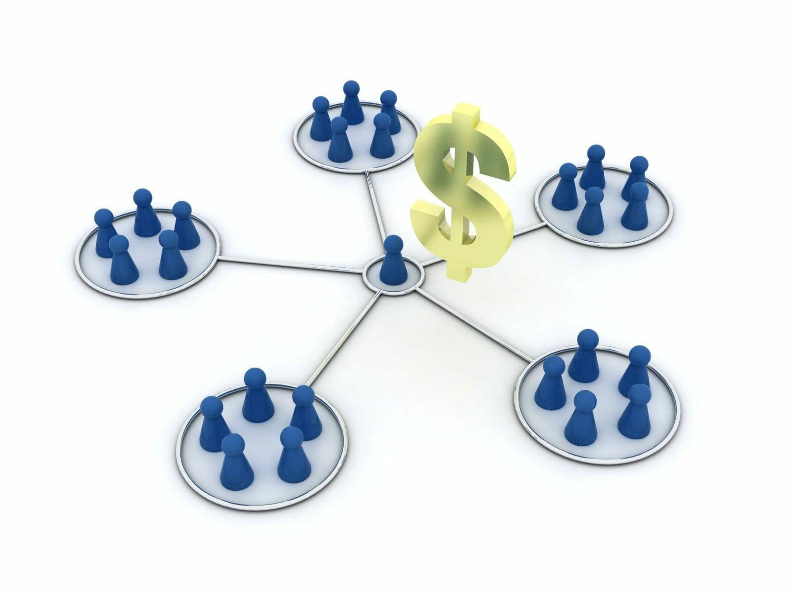 Affiliate program with dollar icon illustration. Affiliation. Network.