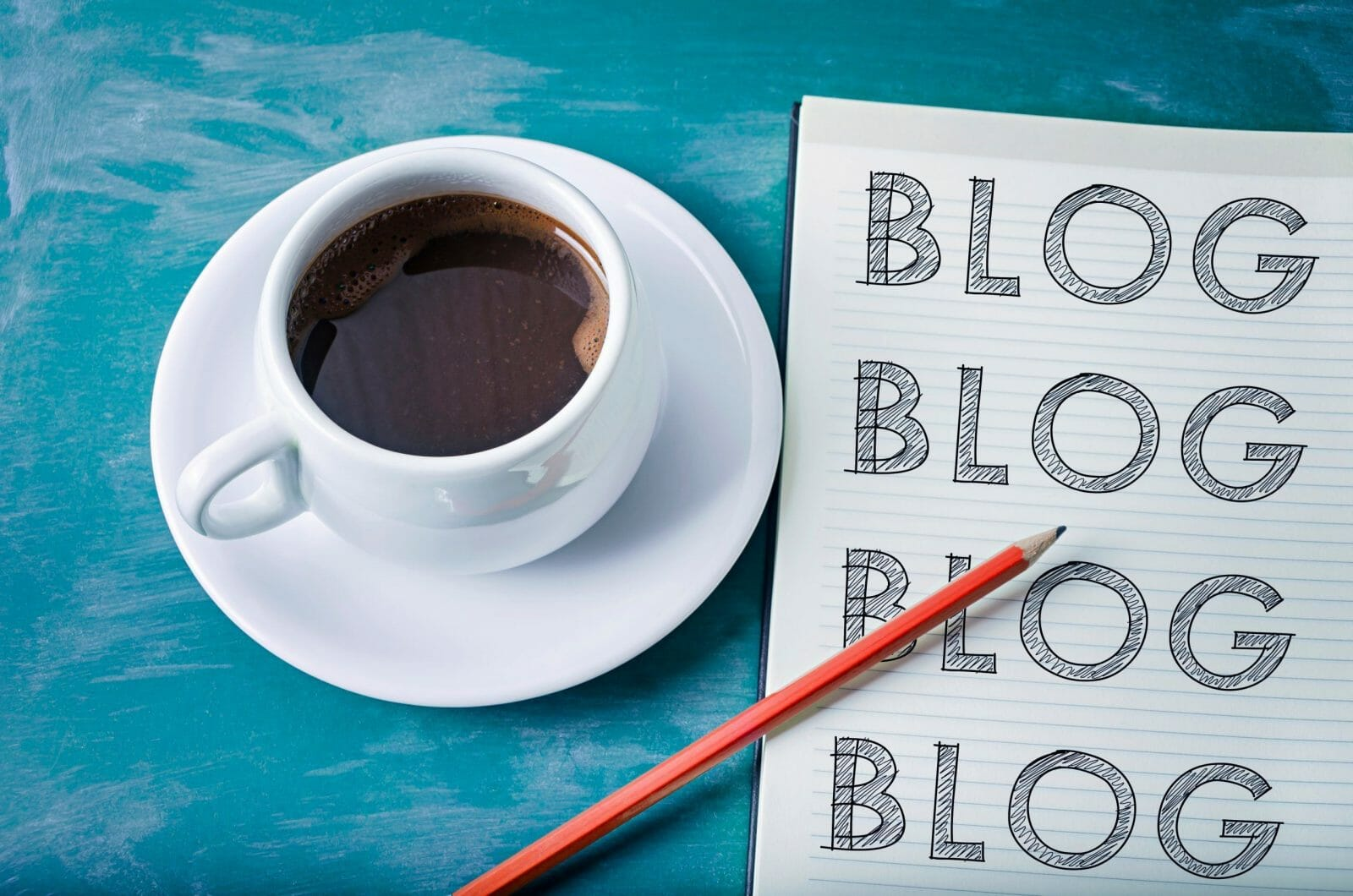 Blog, blog, blog- blogging concept on a notebook with cup of espresso coffee