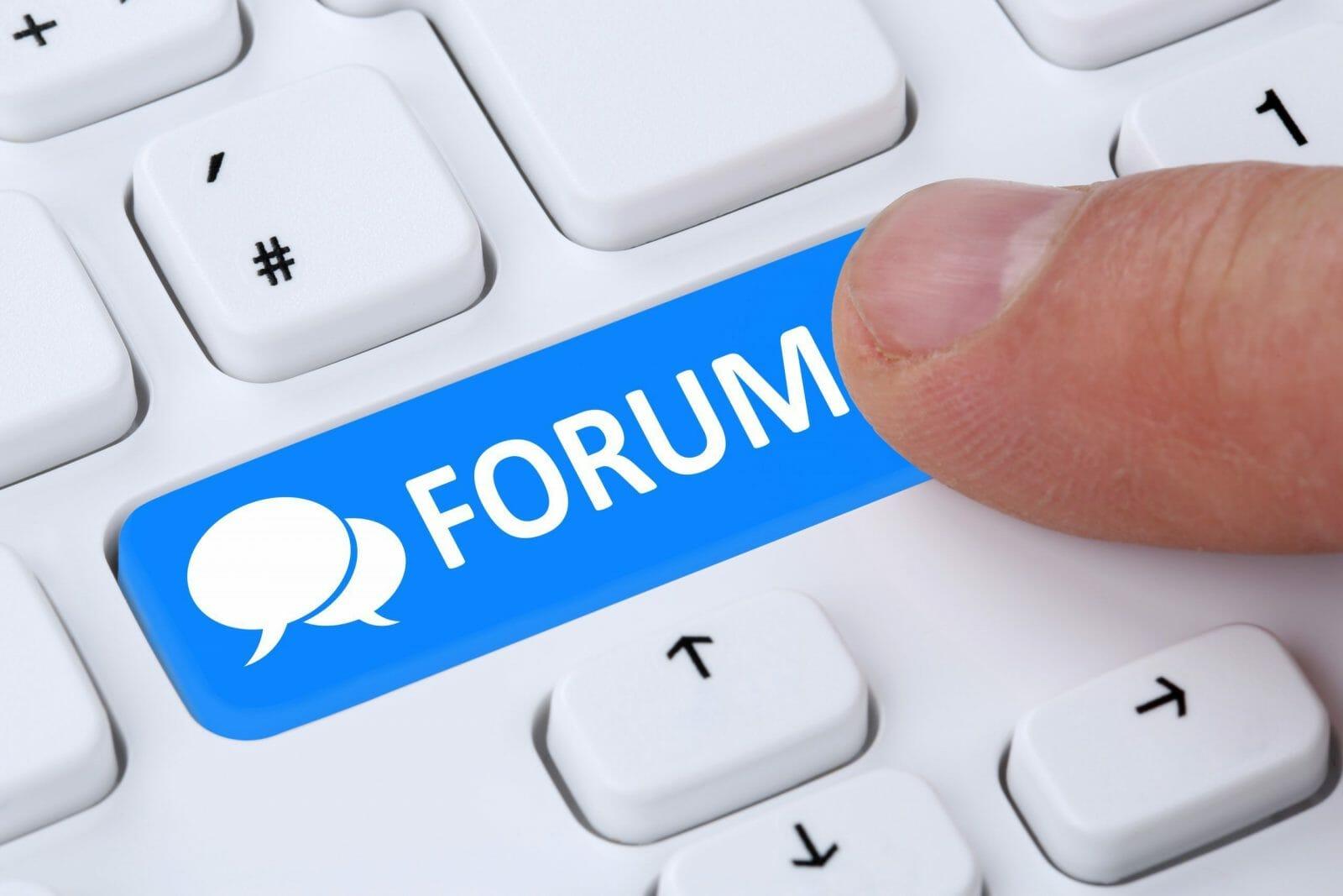 Forum communication community internet blog media discussion online computer keyboard concept