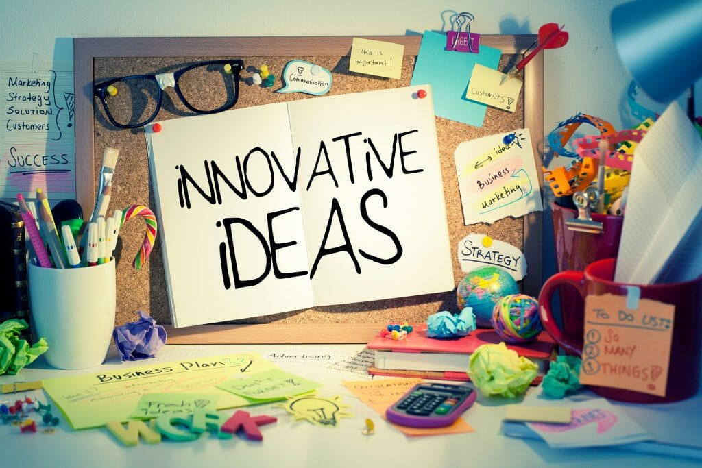 Innovative ideas note in office, business innovation concept background.