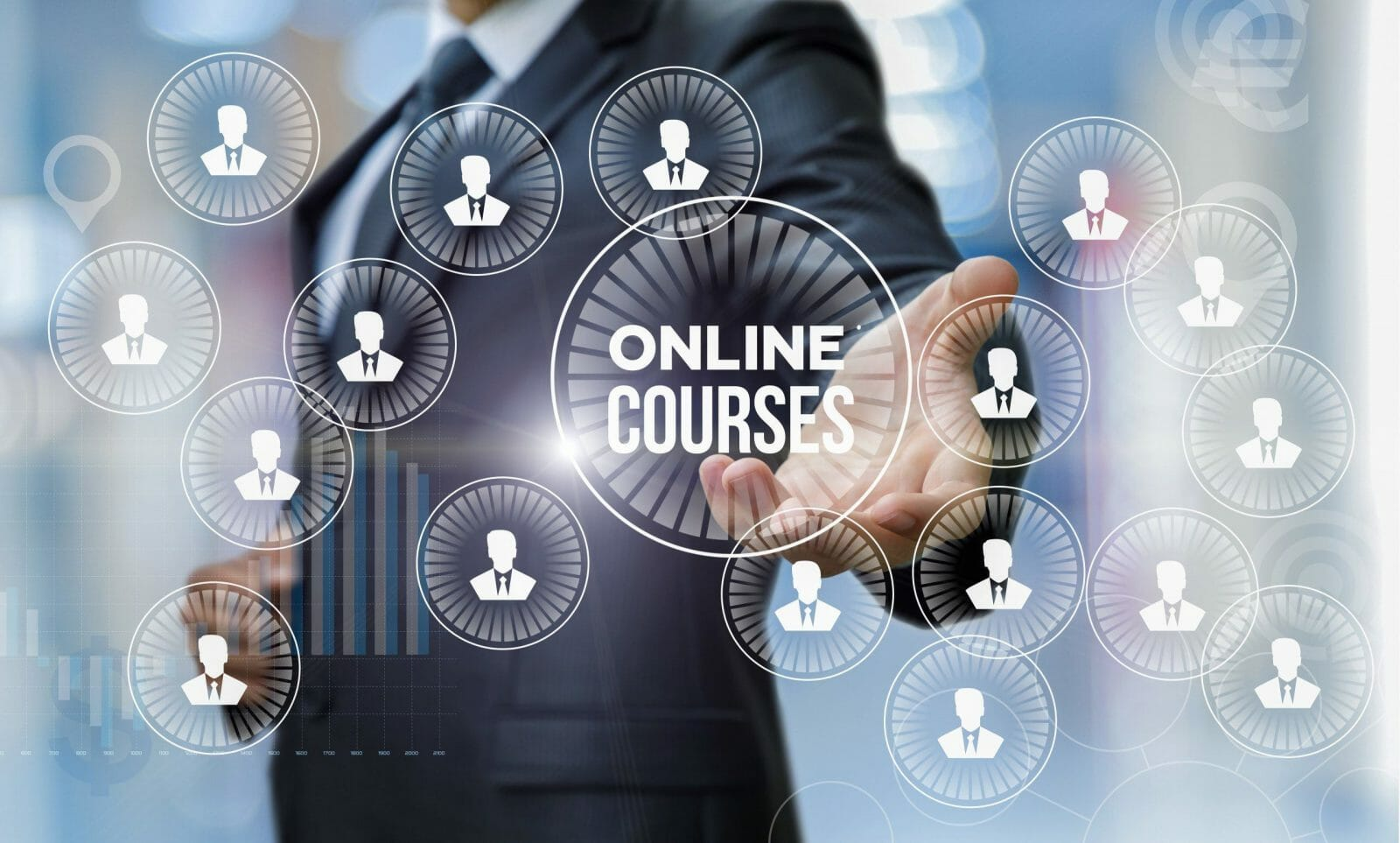 Man shows online courses on blurred background.