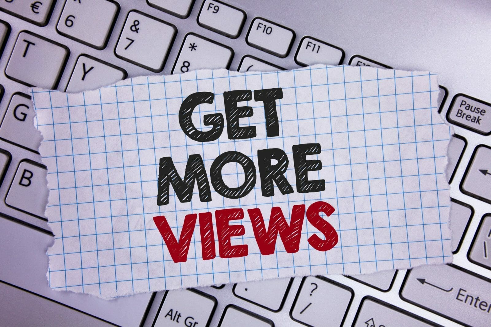 Text sign showing Get More Views. Conceptual photo Increase web traffic optimise blog strategy analyse digitally written Tear Notebook paper placed the Laptop.