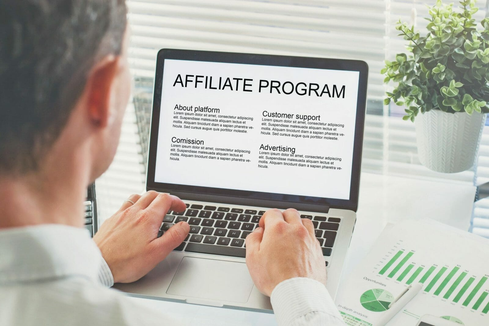 affiliate marketing program, concept on the screen of