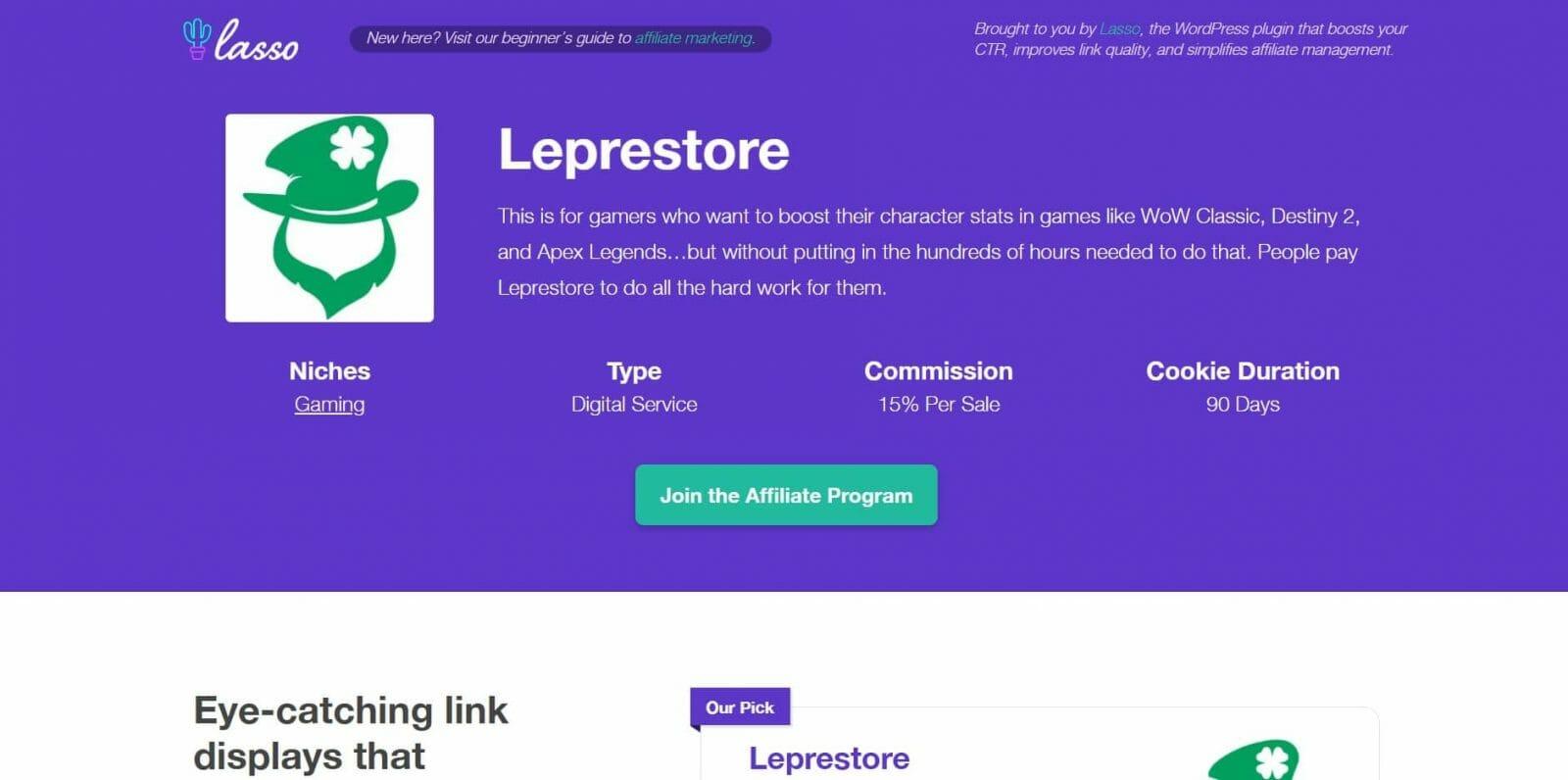 Leprestore Gaming Affiliate Program